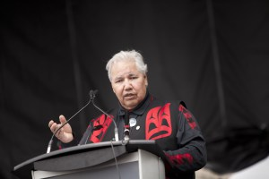 Justice Murray Sinclair addresses walkers and those gathered at Marion Dewar Plaza in Ottawa. More than 7000 people gathered to walk for reconciliation. The walk began at Ecole Secondaire de l'Ile in Gatineau, Quebec, and ended aproximately 5 kilometres away at Marion Dewar Plaza in front of Ottawa City Hall. Members of First Nations communities, faith communities and many others participated including those from Mennonite churches and MCCer's from across the system.