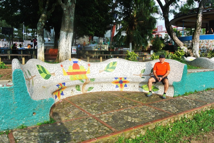 Decorated concrete park benches in the central park square of La Palma.